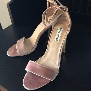 Steve Madden Pink Velvet Sandals w/Gold High Heel